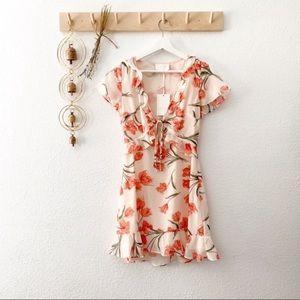 Storia Floral Ruffle Cutout Boho Flounce Dress New